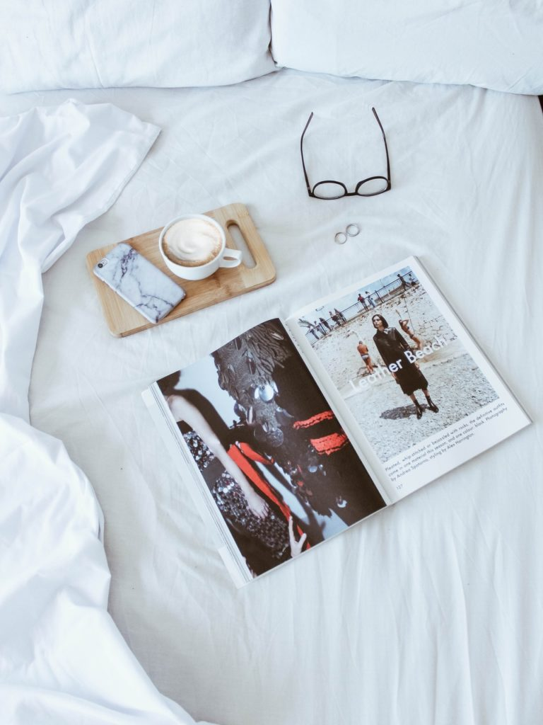 Coffee, glasses, magazine