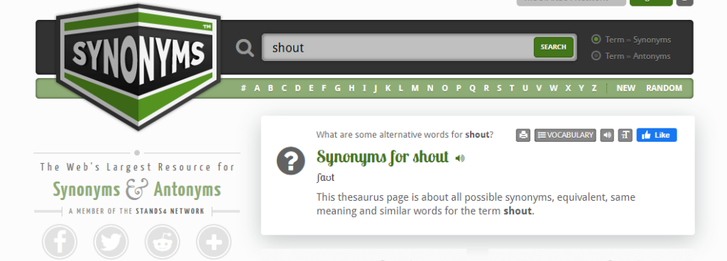 Synonyms home page