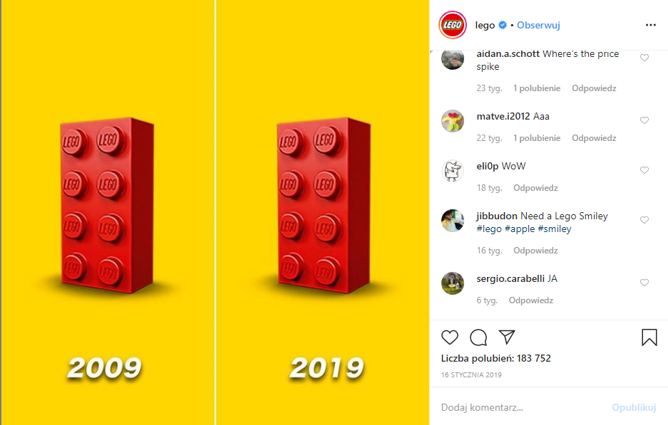 lego blocks - 2009 and 2019