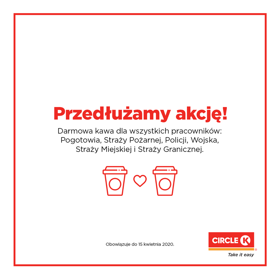 an advert of circle k - we give coffee for free to our heroes